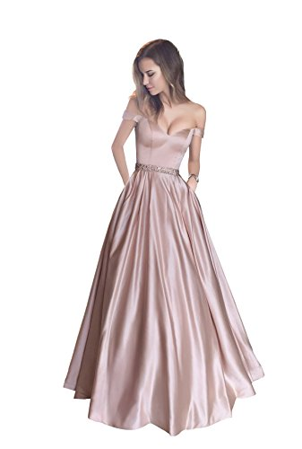 05bc06b7c25b Harsuccting Off The Shoulder Beaded Satin Evening Prom Dress with Pocket