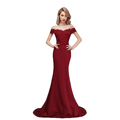 9a07e238028 Honey Qiao Burgundy Off The Shoulder Mermaid Bridesmaid Dresses Long ...