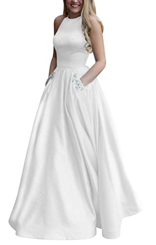 6a5ae1c50da Women s Long Beaded Halter Satin Prom Dress A Line Open Back Evening Gowns  with Pockets
