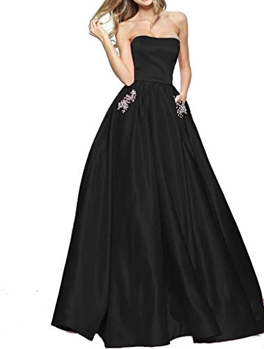 72241c08212 BBCbridal Women s Strapless Beaded Prom Dresses Long A Line Satin Evening  Dress Party Gowns with Pockets