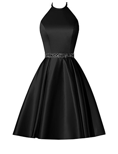 808bd16c006 BBCbridal Satin Halter Homecoming Dresses Short Beaded Cocktail Dress for Juniors  Prom Gowns with Pockets