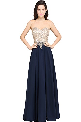 4f3b5316a9 MisShow Sheer Neck Rhinestone Gold Lace Long Formal Evening Gown