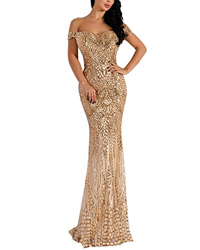 f259b928294 WRStore Women s Off Shoulder Sequined Evening Party Maxi Dress for Prom